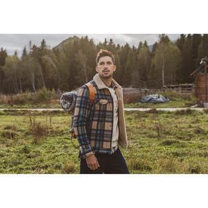 Image 2 - Simwood 2020冬の新ムートントリミングチェックウール混紡ジャケット男性ファッション暖かいプラスサイズコートSI980766