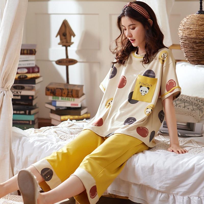 Pajamas Women Summer Cotton Short Sleeve Capris Suit Korean Version Sweet And Lovely Cotton Women's Home Clothes Pj Set