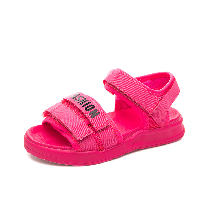 COZULMA Girls Candy Color Strap Beach Sandals Children Summer Shoes Kids Boys Hook & Loop Sandals Shoes Size 26-36