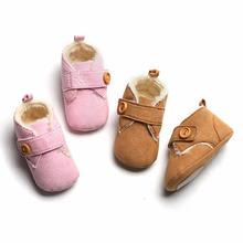 New Winter Baby Shoes First Walkers Non-slip Infants Kids Boots Shoes Newborn Baby Girls Boys Shoes Warm Thicken cheap Unisex Cotton Fabric Hook Loop Solid Fits true to size take your normal size WS-6134