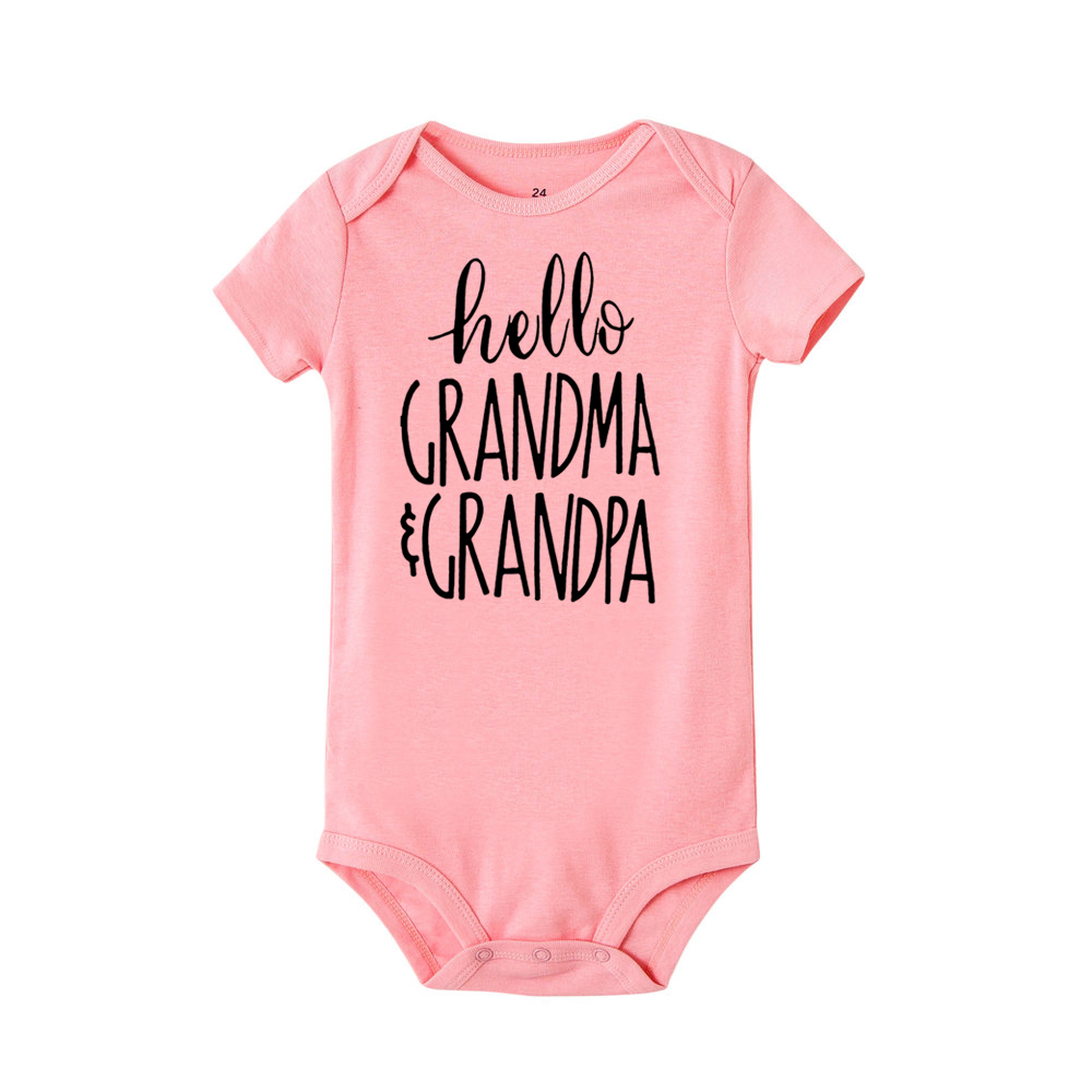 Newborn Romper Hello Grandma and Grandpa Print Infant Baby Boys Girls Short Sleeve Funny Cute Onesie Jumpsuit Outfit | Happy Baby Mama