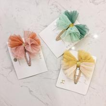ncmama Princess Lace Hair Bows for Girls Korean Glitter Hairpins Clips Lovely Gradient Bowknot Hairgrips Kids Headwear