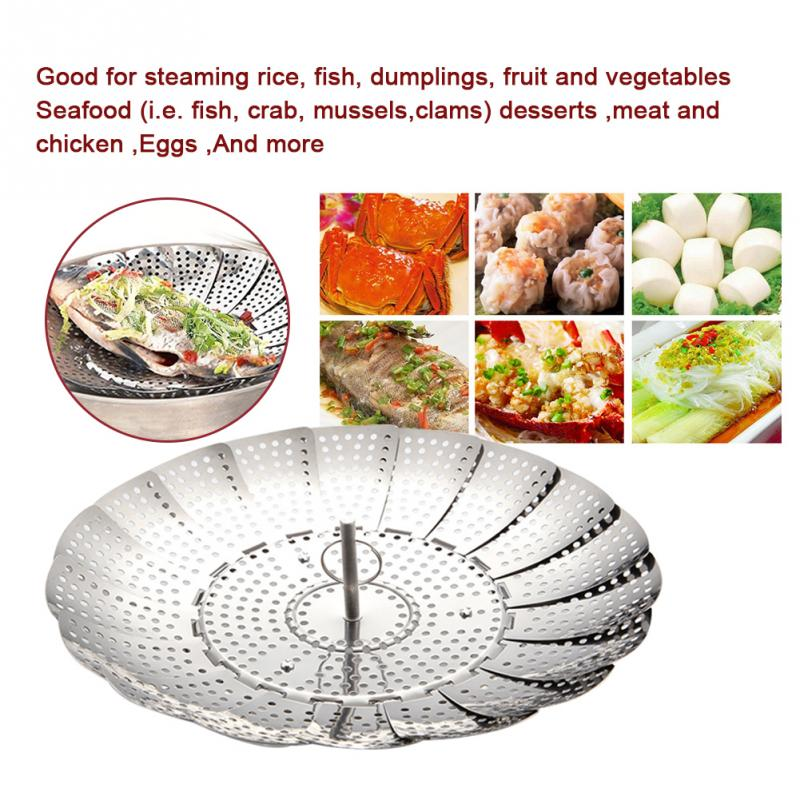 New Cookware Folding Dish Steam Stainless Steel Food Basket Mesh Vegetable Vapor Cooker Steamer Expandable Pannen Kitchen Tool