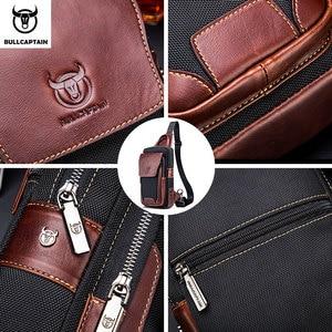 Image 5 - BULLCAPTAIN الساخن الرجال الأولى طبقة جلد البقر عارضة الأزياء الصدر حقيبة بحزام حقيبة رجالية على حقيبة كتف الرجال حقيبة صدر للرجال