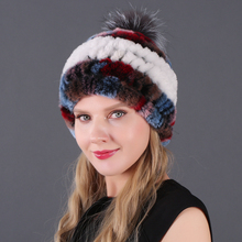 Hot Sale Genuine Knitted Rex Rabbit Fur Hats Women Real Rur Hat Match Silver fox fur ball Quality100%Natural Caps