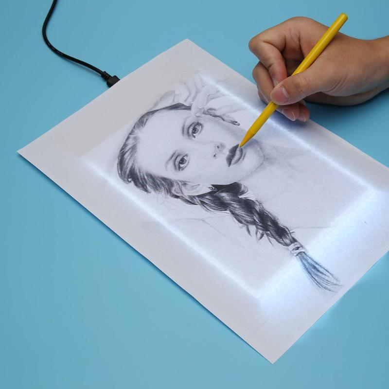 VKTECH <font><b>A5</b></font> Drawing Tablet Digital Graphic <font><b>Pad</b></font> USB <font><b>LED</b></font> <font><b>Light</b></font> Box Tracing Copy Board Electronic Art Graphic Painting Writing Tablet image