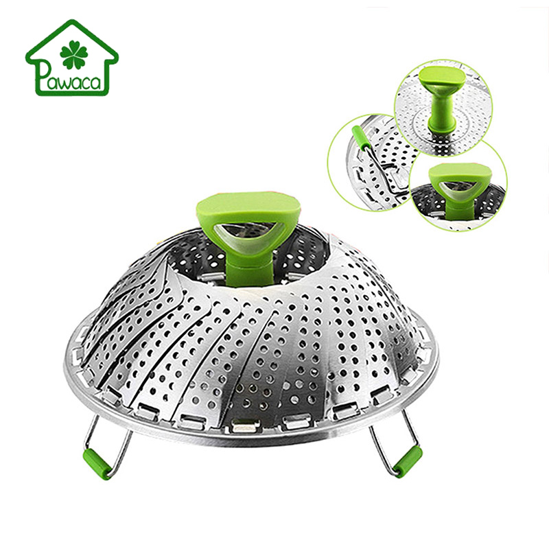 Pawaca 9 Inch Foldable Stainless Steel Steamer Basket Strainer Net Fruit Vegetables Cleaning Basket Kitchen Anti-scald Steamer