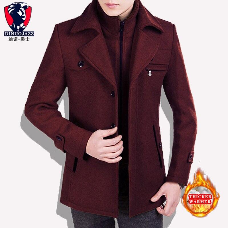 Red Woollen Coat Men's Coat Wool Overcoat Winter Men Cashmere Male Fleece Winter Thickening Long Keep Warm Coat