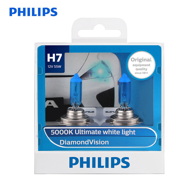 Philips 100% Original H7 12V 55W PX26d Diamond Vision 5000K Super White Light Halogen Bulbs Auto Headlight 12972DV S2 ,A Pair