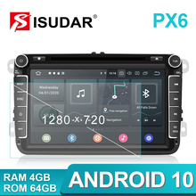 Isudar PX6 2 Din Android 10 Radio del coche para Skoda/asiento/Volkswagen/VW/Passat b7/POLO/GOLF 5 6 Auto reproductor Multimedia DVD GPS DVR