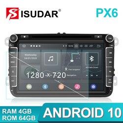 Isudar PX6 2 Din Android 10 автомобильное радио для Skoda/Seat/Volkswagen/VW/Passat b7/POLO/GOLF 5 6 авто мультимедийный плеер DVD GPS DVR