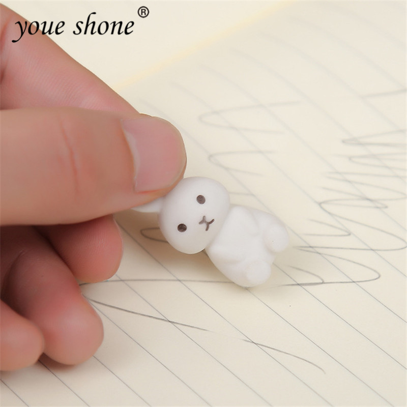 3PCS/lot Cartoon Animal Rabbit Shape Cute Eraser Art Supplies Children's Gift Rubber Box Packaging TPR Material Student Supplies