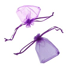148 Pcs Organza Favour Candy Gift Bags :48 Pcs Purple Drawstring Pouches Wedding 10x12CM & 100 Pcs Dark Purple Wedding Jewellery(China)