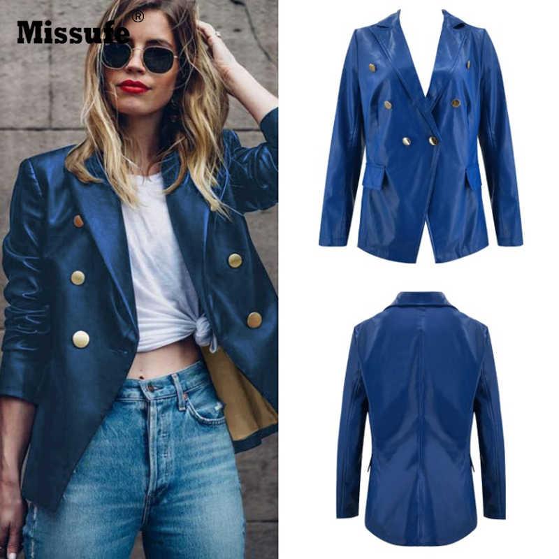 Missufe PU Leathers Blazers Coat Women Notched Collar Slim Clothes Cardigan Suit Jacket Coats Female Fashion New 2019 Autumn