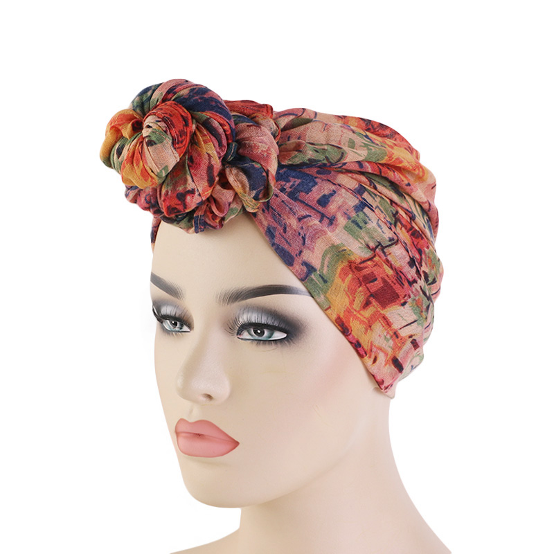 New Women Big Flower Turban Chemo Cancer Cap Headwrap Bandana Cap Head Wrap Stretch Long Hair Scarf Headscarf Turban Tie