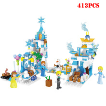 цены Girls Princess Elsa Anna Figures Ice Castle Friends Building Blocks Compatible Legoed City Bricks Children Toys Gifts For Girls