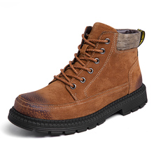 High Quality Genuine Leather Men Boots Winter Ankle Riding Plush Warm Outdoor Working Snow Shoes