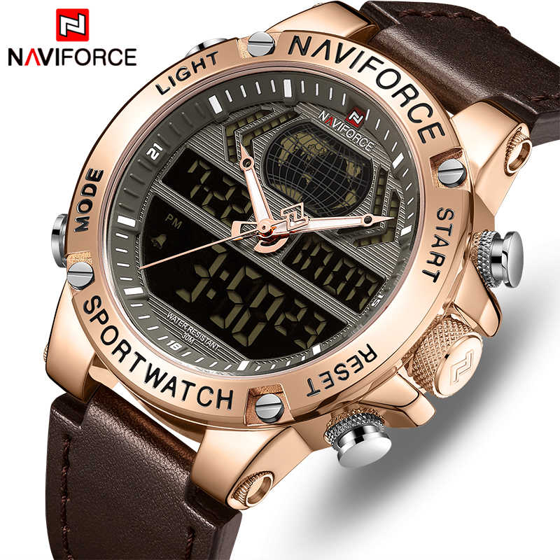 NAVIFORCE Watch Men Top Luxury Brand Leather Waterproof Sports Men's Watches Quartz Analog Digital Watch Male Relogio Masculino