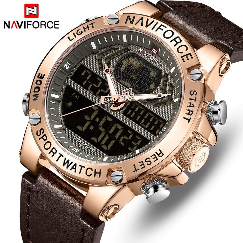 NAVIFORCE montre hommes haut de gamme marque de luxe en cuir étanche sport hommes montres Quartz analogique numérique montre mâle Relogio Masculino