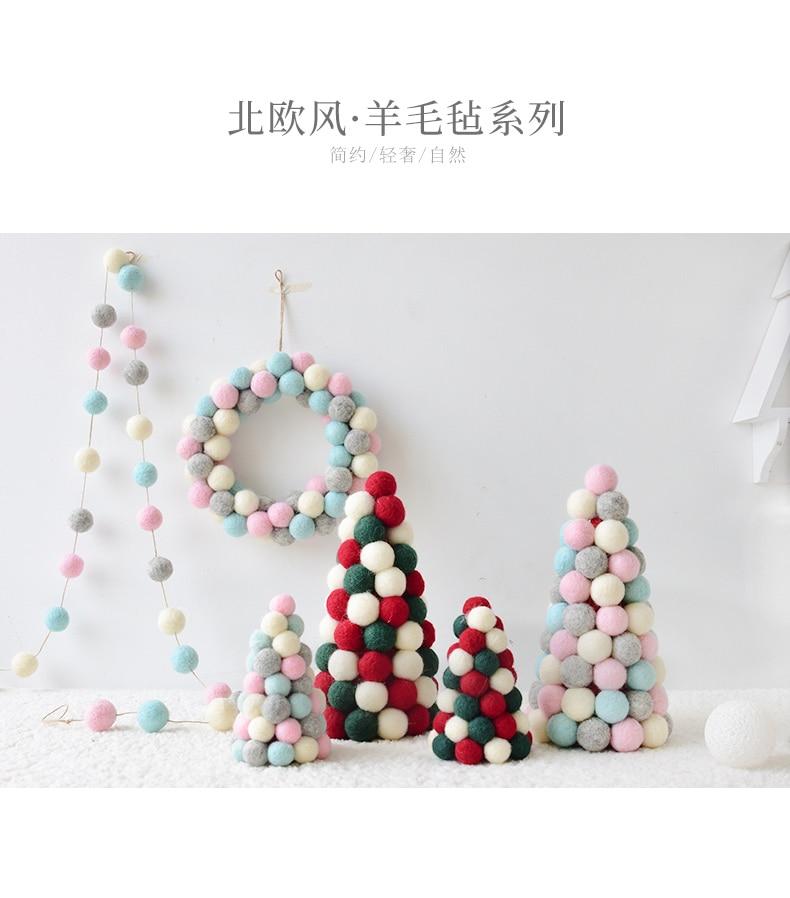 Ins Wool Felt Mini Christmas Tree Decoration Tabletop Decoration Wool Ball String Christmas Wreath Ornament QW246 (12)
