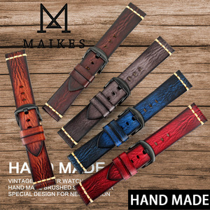 Image 3 - MAIKES Handmade Genuine Leather Watch Strap 18mm 20mm 22mm 24mm Vintage Watch Band For Panerai Citizen Omega SEIKO Watchband