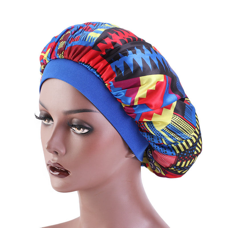 African Pattern Ankara Print Silky Durag And Bonnet Set Wide Band Day Night Sleep Bonnet For Women Headwrap For Lover New Fashio