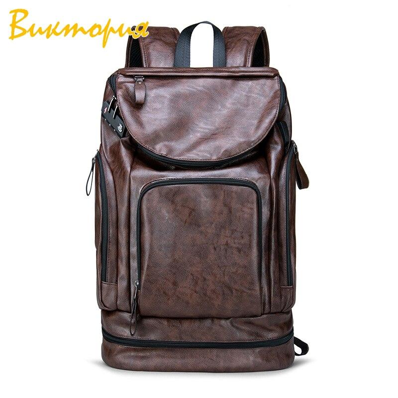 Backpack Leather Men Laptop Travel 15inch Waterproof USB College Bookbag mochila hombre