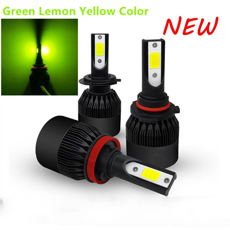 2Pcs Green Light Color Led Car Headlight  Lamp Fog Lights Bulbs H8 H11 H16 48W 4800LM Led Car Headlamp 12V 24V