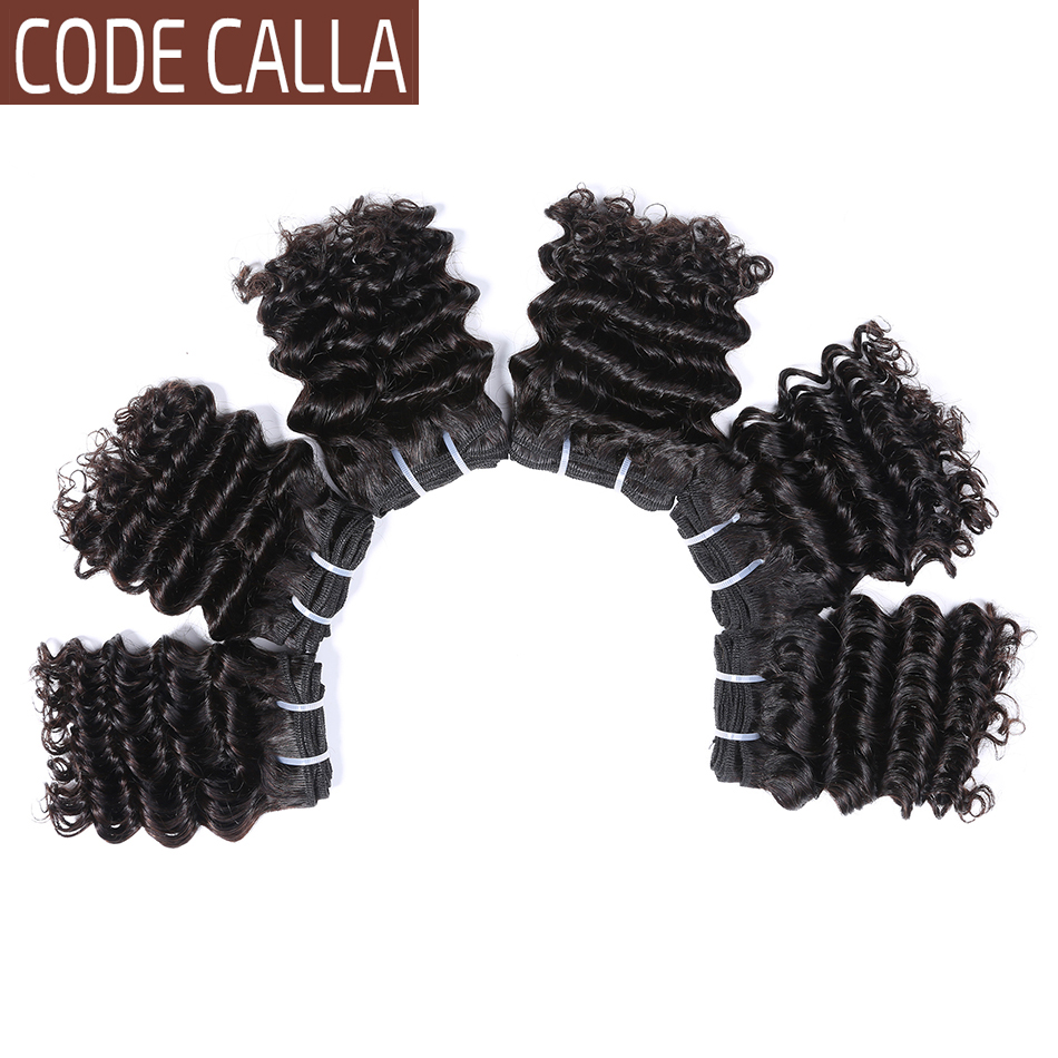 Indian Short Cut Deep Wave Human Hair Bundles Natural Color 6inch Deep Curly Remy Hair Extensions Code Calla Double Drawn Weft