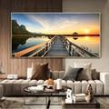 Moderne Natürliche Landschaft Poster Sky Sonnenaufgang Brücke Malerei Gedruckt Auf Leinwand Home Decor Wand Bilder Für Wohnzimmer Kein Rahmen