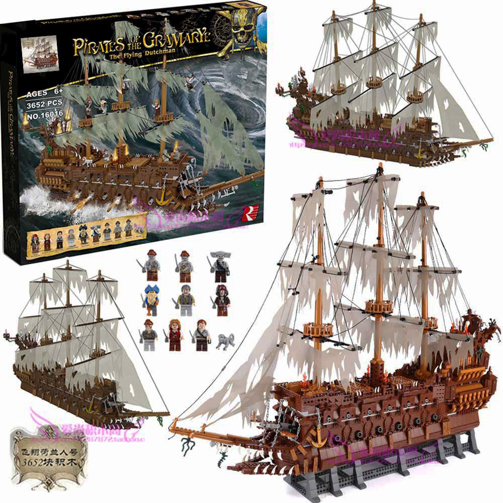 Flying Dutchman Netherlands Ship Creator MOC The 16016 Pirates Of The Movie Caribbean Set Building Blocks Bricks Model Boat Toys