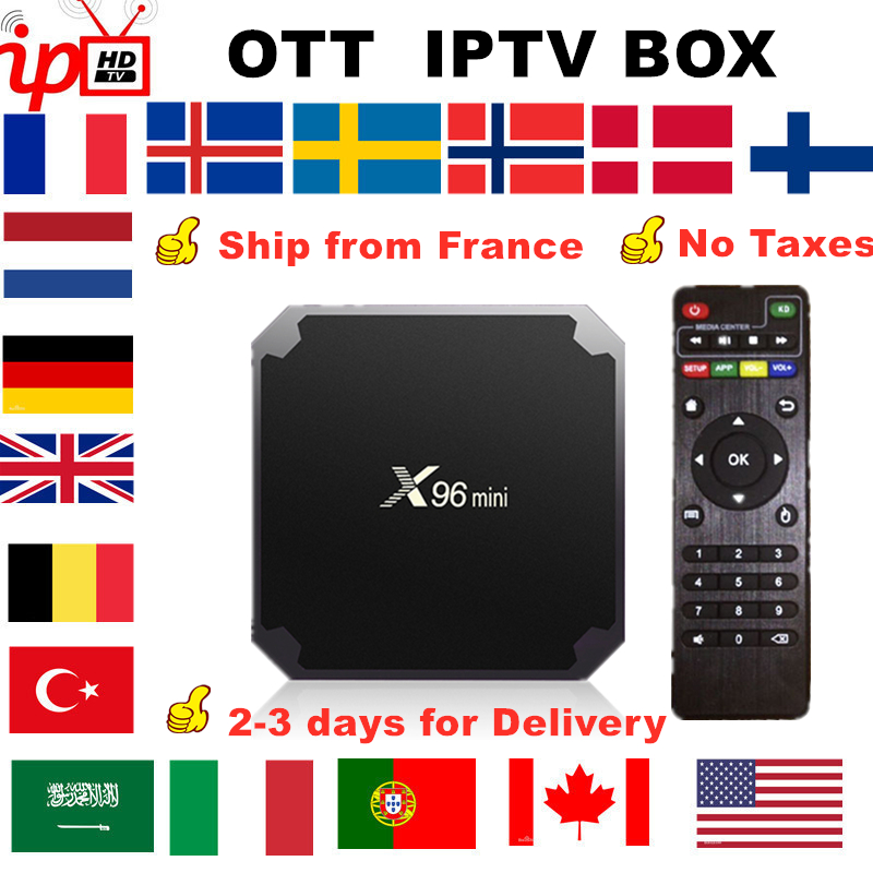 French IPTV X96 Mini Android TV Box +IPTV France Nordic Sweden Arabic Belgium Netherland UK Turkey Italia Portugal Smart Tv Box