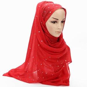 Image 5 - 2020 neue Damen Diamant Glitter Solide Farbe Plain Baumwolle Jersey Hijab Schal Frauen Muslimischen Lange Stirnband Haar Schals Echarpe Femme