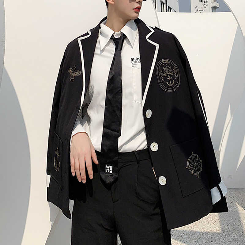Veste Homme Mens Jacket Single Button Casual Blazer Jacket Male Vintage Fashion Streetwear Hip Hop Loose Suit Coat Outerwear
