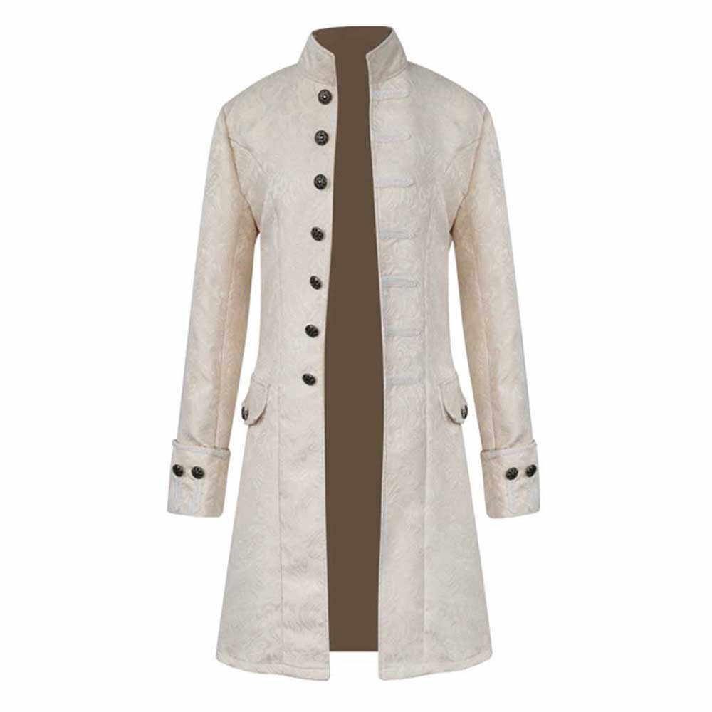 Gabardina para hombre Vintage estilo chino invierno cálido abrigo largo Punk chaqueta para hombre prendas de vestir botones de un solo pecho negro # F5