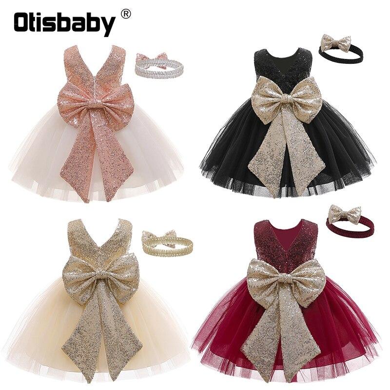 Fantasia bebê menina lantejoulas 1 2 anos bebê menina vestido de festa de aniversário com bandana elegante infantil vestido de baile da criança vestido de batismo