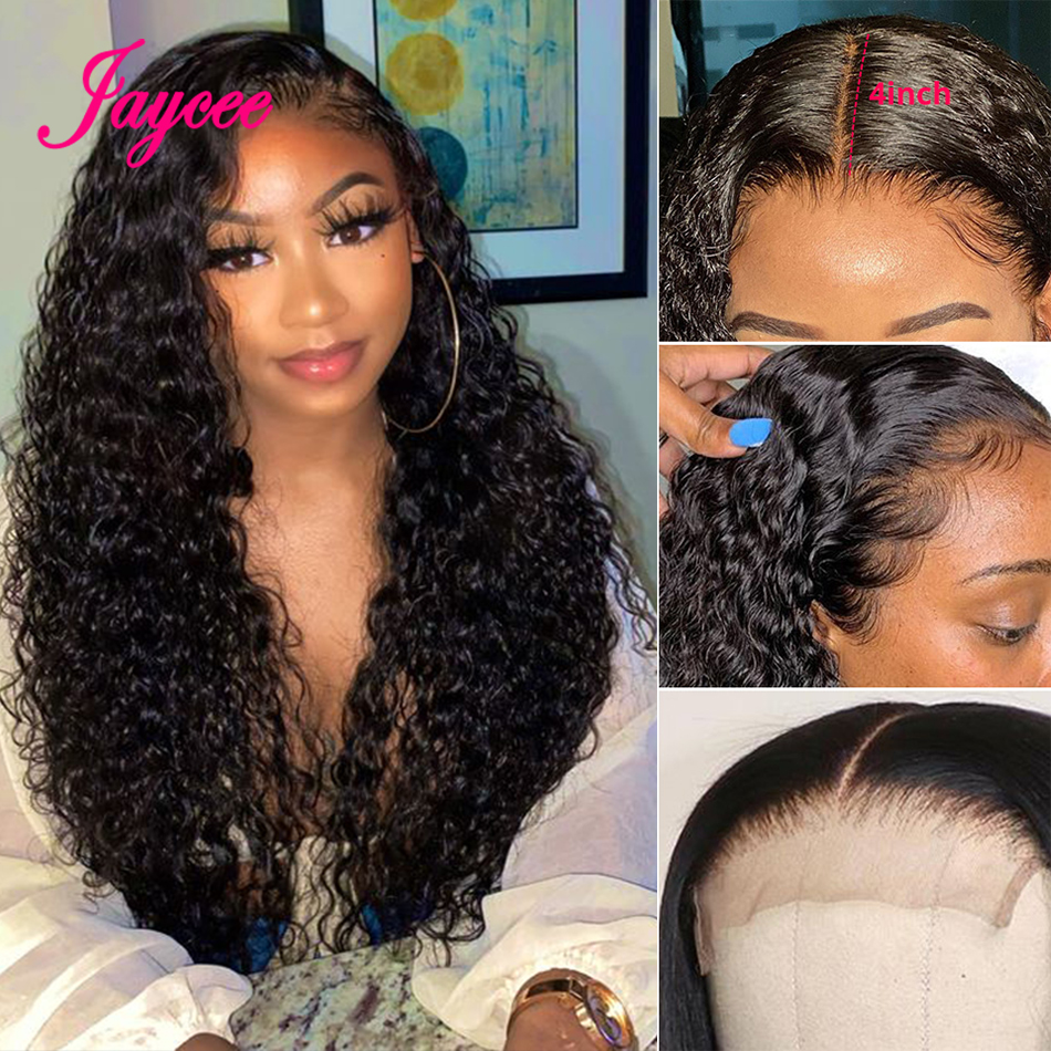Brazilian Water Wave Wig Wet And Wavy Wig Curly Human Hair Wigs Natural Wave Lace Closure Wig 4*4 Human Hair Wigs For Women 150%