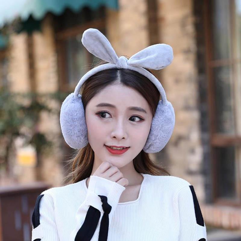 Calymel Women Rabbit Ears Earmuffs Winter Cute Comfort Soft Bow Faux Fur Plush Ear Warmer Foldable Girls Earmuffs Hot Sale