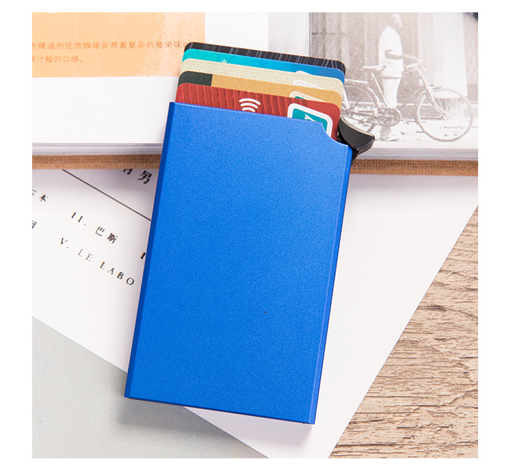RFID Blocking Men Credit Card Holder Anti-theft Card Holder for Men Wallets New Automatic Card Case Aluminum Metal Purse