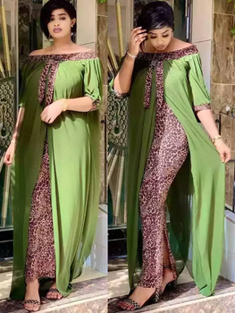 Mr Hunkle Leopard Loose Bodycon Fashion outdoor WomenMaxi  Dress Leisure Patchwork Strapless Sexy Ethnic Style African vestidos