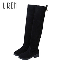 купить Liren 2019 Winter Women Genuine Leather Cow Suede Over-the-Knee Boots Round Wrapped Toe Low Square Heels Warm Lady Boots дешево
