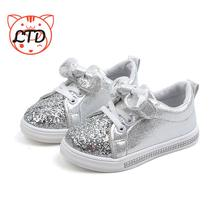 Sneakers Girls Shoes Children Glitter Spring Flat Autumn Baby Fashion Non-Slip Bow-Knot