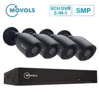 Movols 5MP système de vidéosurveillance 8CH H.265 DVR 4 pièces 2592*1944 HD Kit de caméra de sécurité intérieur/extérieur ir-cut P2P système de vidéosurveillance