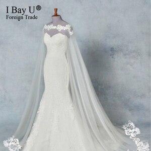 Luksusowe koronki na ramieniu 3M biała kość słoniowa katedra ślubna przylądek długa koronka krawędź akcesoria ślubne welon ślubny panna młoda Mantilla welon