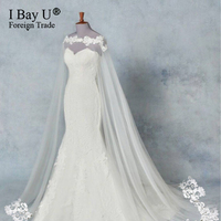 Luxury Lace on Shoulder 3M White Ivory Cathedral Wedding Cape Long Lace Edge Wedding Accessories Bridal Veil Bride Mantilla Veil