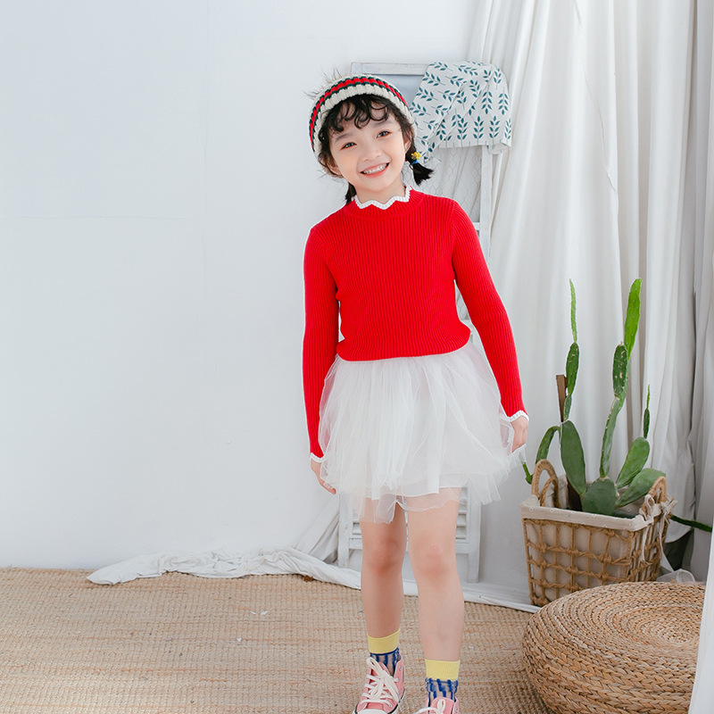 Fashion Knitted Sweater Girls 2019-Autumn And Winter Single Color Stripes Crew Neck Pullover Children Base Fashion