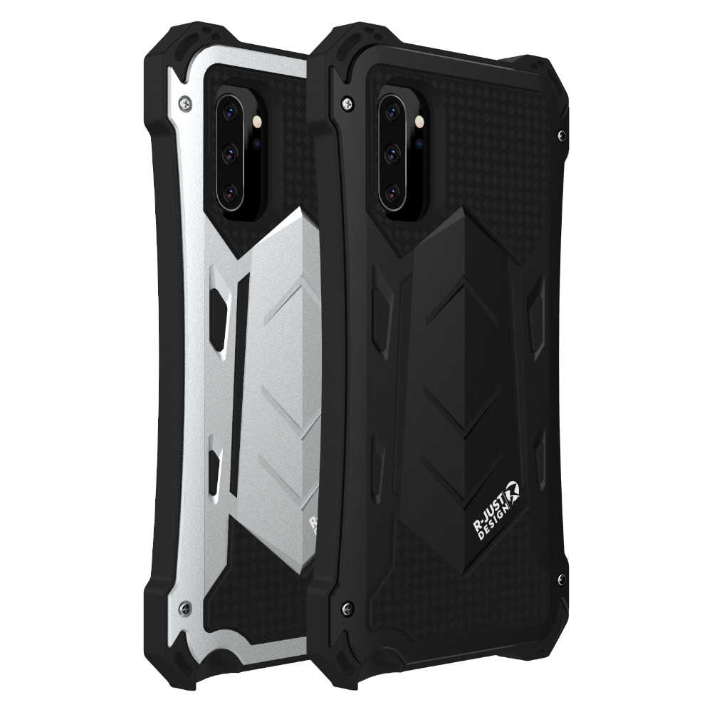 Luxe Shockproof Doom Armor Metal & Silicone Hybrid Aluminium Telefoon Case Voor Note 10 10 + Case Cover Screen Glas film