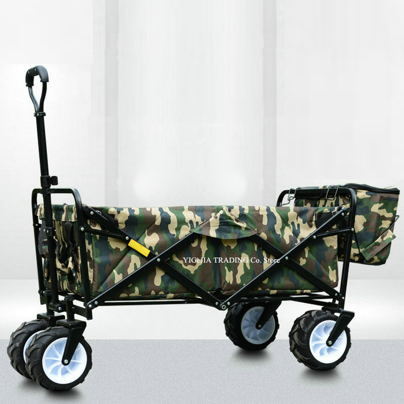 Widen Wheel Portable Trolley, Sturdy Steel Frame Garden/Beach Wagon/Cart, Folding Camping Shopping Cart