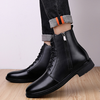 Male Leather Shoes Size 37-46 Winter Sneaker Fashion High Quality Trainers Casual Sneakers Plus Velvet Mens Leather Shoes *8955