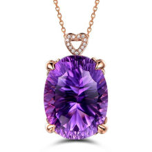 Real Big amethyst gemstone purple crystal pendant necklace for women femme 18k rose gold chain luxury jewelry zircon diamonds(China)